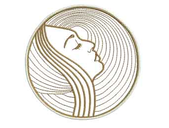 face outline machine embroidery design faces and art deco moving